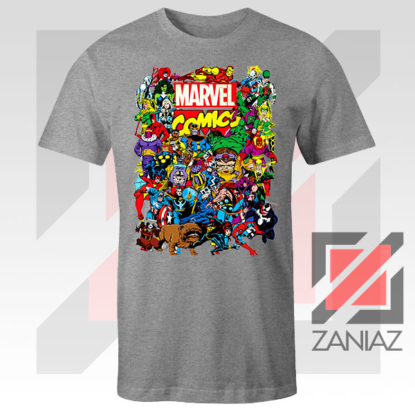 Marvel Comic Hero Collage Sport Grey Tshirt