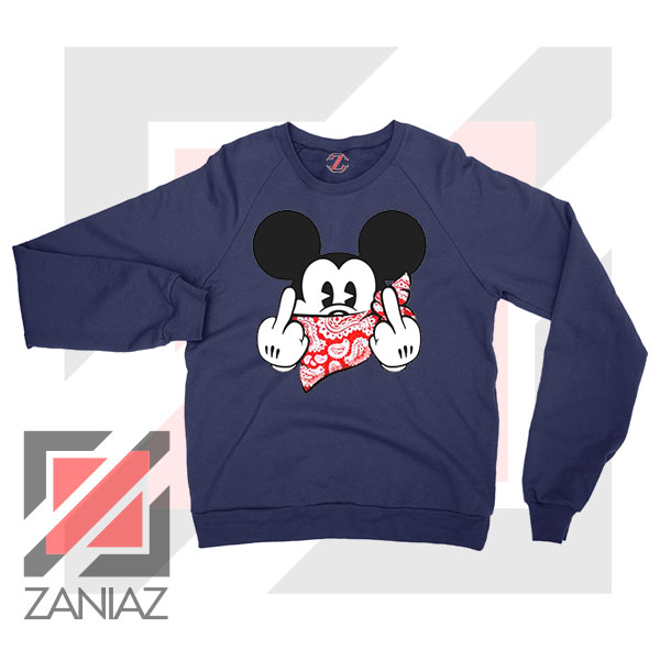 Mickey Disney Middle Finger Navy Blue Sweater