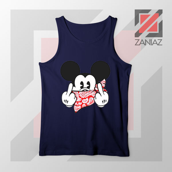 Mickey Disney Middle Finger Navy Blue Tank Top