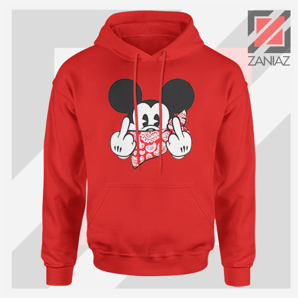 Mickey Disney Middle Finger Red Hoodie