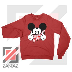 Mickey Disney Middle Finger Red Sweater