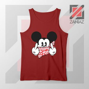 Mickey Disney Middle Finger Red Tank Top
