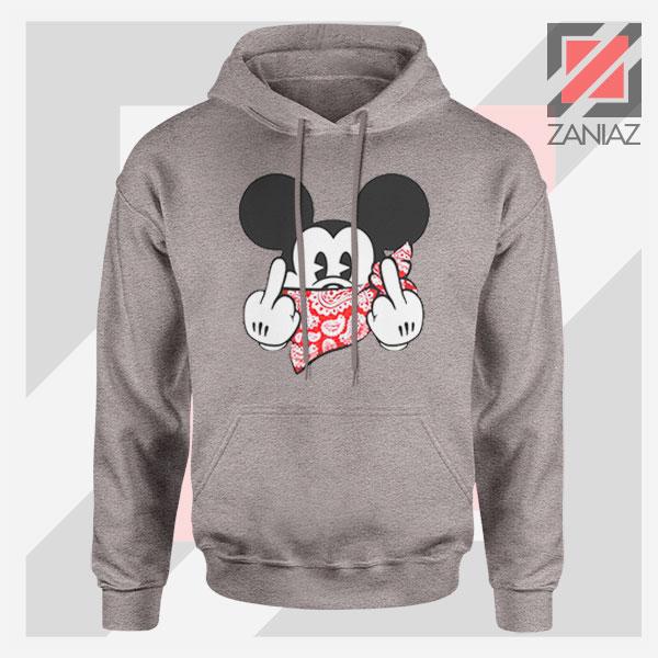 Mickey Disney Middle Finger Sport Grey Hoodie
