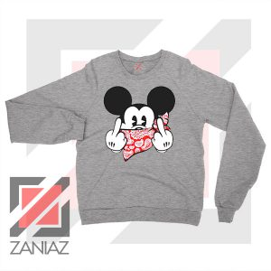 Mickey Disney Middle Finger Sport Grey Sweater