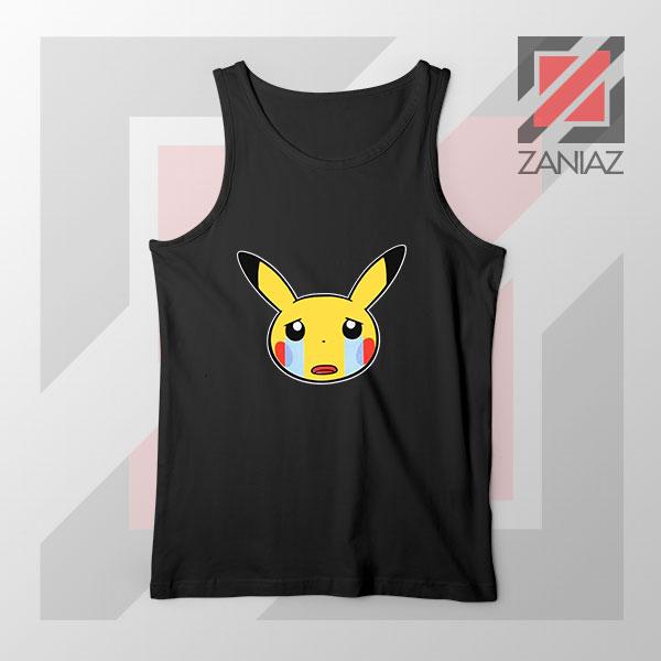 Pikachu Sad Mood Black Tank Top