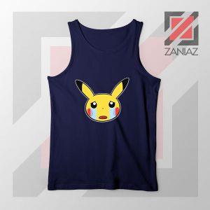 Pikachu Sad Mood Navy Blue Tank Top