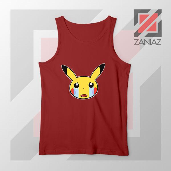 Pikachu Sad Mood Red Tank Top