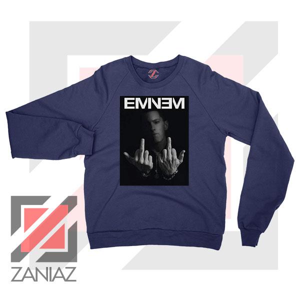 Slim Shady Eminem Poster Navy Blue Sweater