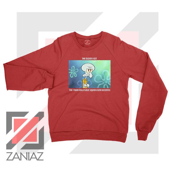 Squidward Meme Designs Red Sweatshirt