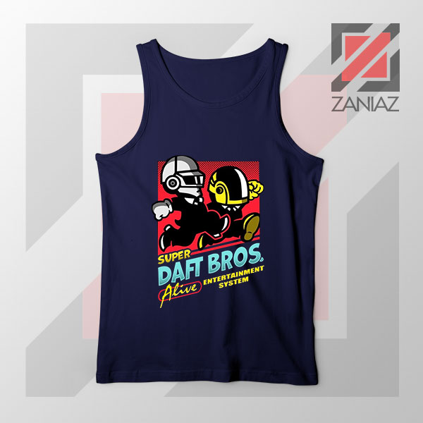 Super Daft Bros Parody Navy Blue Tank Top