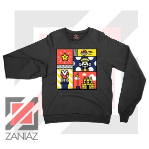 Super Mario Art Celebrate Black Sweatshirt