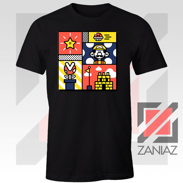 Super Mario Art Celebrate Black Tshirt