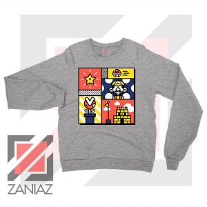 Super Mario Art Celebrate Sport Grey Sweatshirt