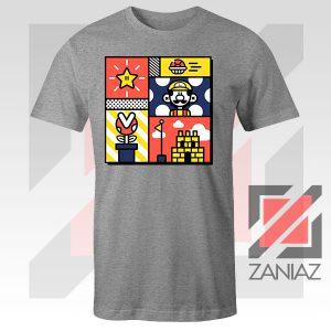 Super Mario Art Celebrate Sport Grey Tshirt