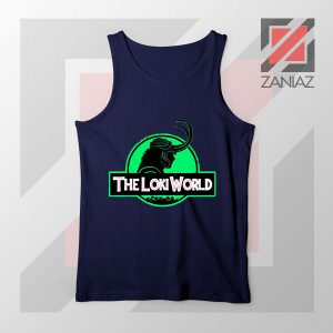 The Loki World Logo Jurassic Best Navy Blue Tank Top