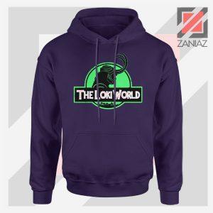 The Loki World Logo Jurassic Graphic Navy Blue Hoodie