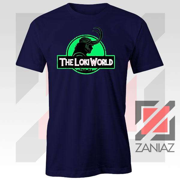 The Loki World Logo Jurassic Graphic Navy Blue Tee