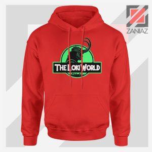 The Loki World Logo Jurassic Graphic Red Hoodie