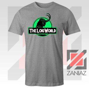 The Loki World Logo Jurassic Graphic Sport Grey Tee