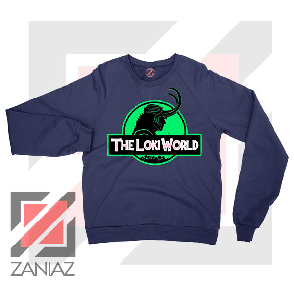 The Loki World Logo Jurassic Navy Blue Sweater