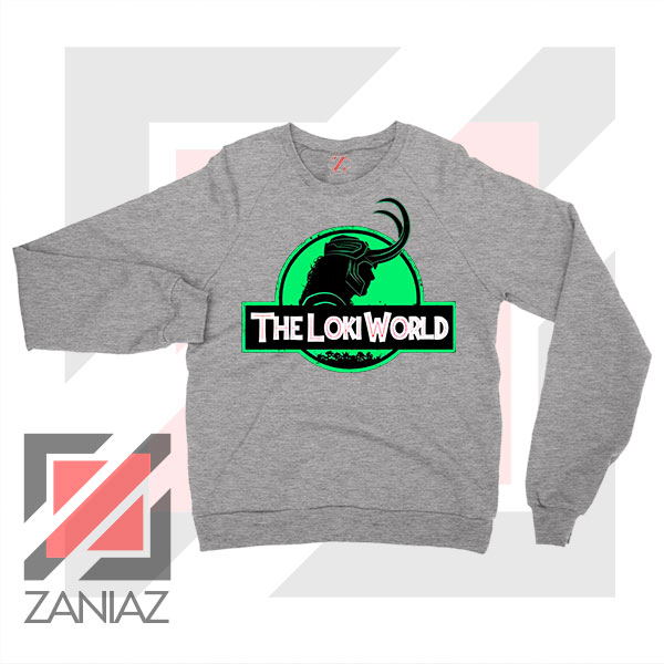 The Loki World Logo Jurassic Sport Grey Sweater