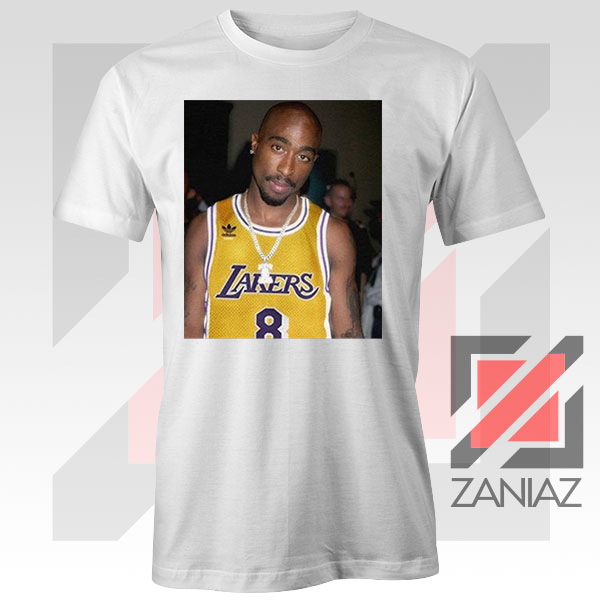 Tupac GOAT Lakers White Tshirt