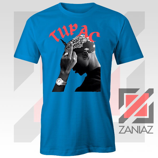 Tupac Middle Fingers Graphic Blue Tee