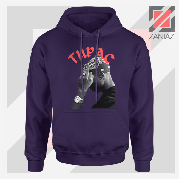 Tupac Middle Fingers Graphic Navy Blue Hoodie