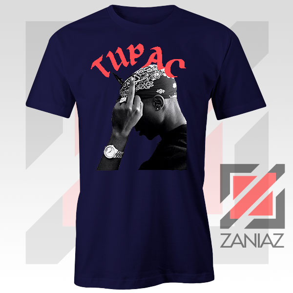 Tupac Middle Fingers Graphic Navy Blue Tee