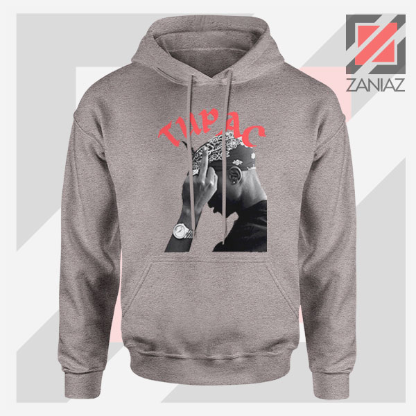Tupac Middle Fingers Graphic Sport Grey Hoodie
