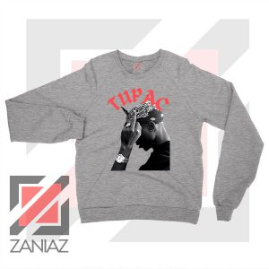 Tupac Middle Fingers Graphic Sport Grey Sweatshirt