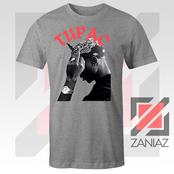 Tupac Middle Fingers Graphic Sport Grey Tee