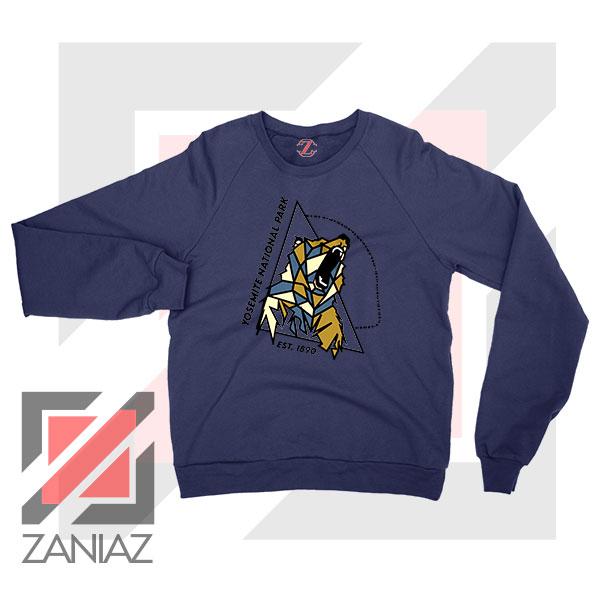Yosemite Park Black Bear Graphic Navy Blue Sweater
