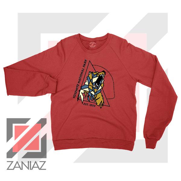 Yosemite Park Black Bear Graphic Red Sweater