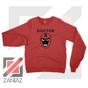 Doctor X Face Graphic Red Sweatshirt