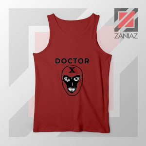 Doctor X Face Graphic Red Tank Top
