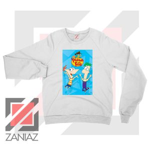 Funny Phineas and Ferb Disney White Sweatshirt