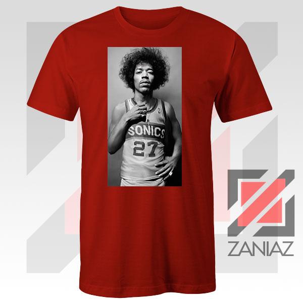 Jimi Hendrix Team 27 Sonics Red Tshirt