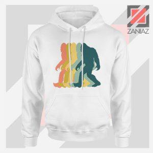 Vintage Retro Rainbow Bigfoot Hoodie White