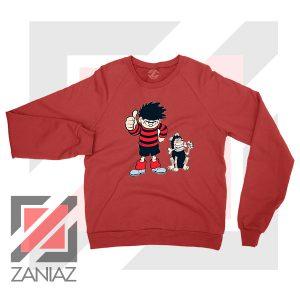 Get Gnasher Comedy Design Red Sweatshirt