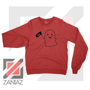 Cute Ghost Cozy Halloween Red Sweatshirt