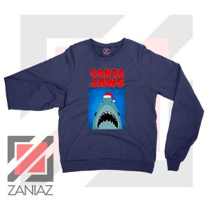 Father Christmas Jaws Parody Navy Blue Sweater