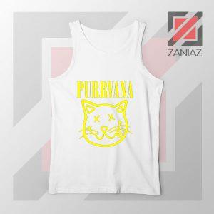Funny Cat Parody Purrvana White Tank Top