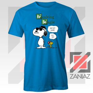 Funny Snoopy Say My Name Blue Tshirt