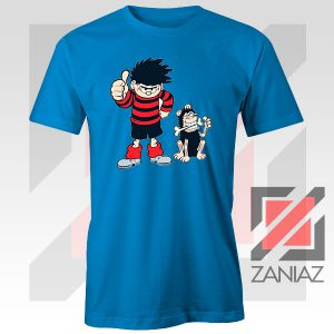 Gnasher Dennis The Menace Blue Tshirt