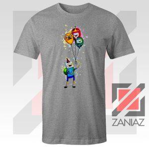 Adventure Time Birthday Balloons Sport Grey Tshirt